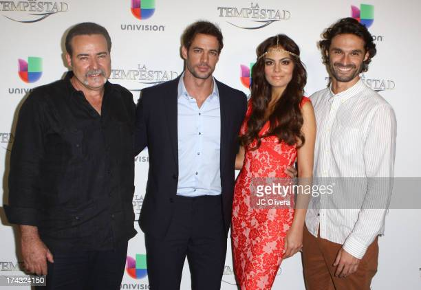 Cesar Evora William Levy Ximena Navarrete and Ivan Sanchez attend the premiere of Univision's new Telenovela 'La Tempestad' at Universal CityWalk on...