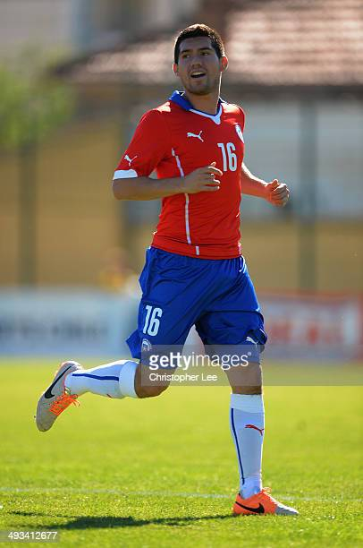 Cesar Fuentes of Chile in action during the Toulon Tournament Group A match between Portugal and Chile at the Stade Perruc on May 23 2014 in Hyeres...