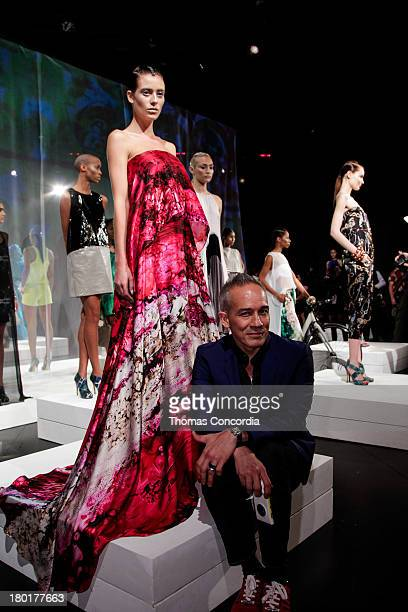 Cesar Galindo and Models pose at the CZAR by Cesar Galindo Spring 2014 Presentation during MercedesBenz Fashion Week at The Box in Lincoln Center in...