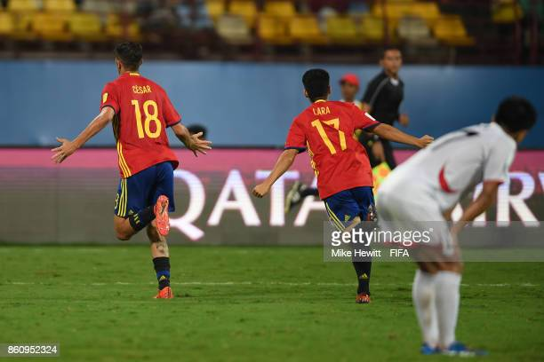 Cesar Gelabert of Spain celebrates after scoring during the FIFA U17 World Cup India 2017 group D match between Spain and Korea DPR at the Jawaharlal...