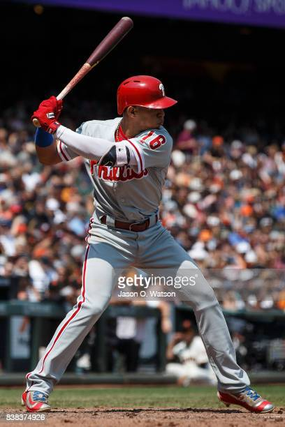 Cesar Hernandez of the Philadelphia Phillies at bat against the San Francisco Giants during the fifth inning at ATT Park on August 20 2017 in San...