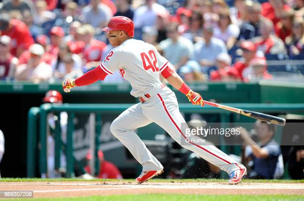 Cesar Hernandez of the Philadelphia Phillies bats against the Washington Nationals at Nationals Park on April 15 2017 in Washington DC All players...