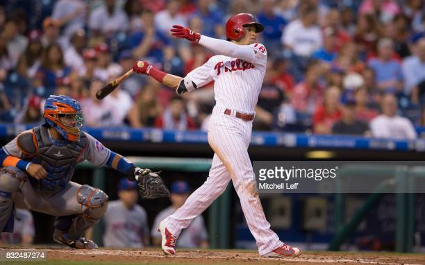 Cesar Hernandez of the Philadelphia Phillies bats against the New York Mets at Citizens Bank Park on August 11 2017 in Philadelphia Pennsylvania