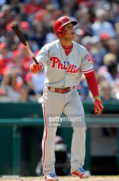 Cesar Hernandez of the Philadelphia Phillies hits the game winning home run in the eighth inning against the Washington Nationals at Nationals Park...