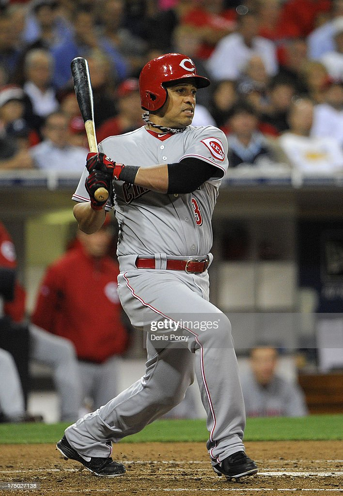 <a gi-track='captionPersonalityLinkClicked' href=/galleries/search?phrase=Cesar+Izturis&family=editorial&specificpeople=203148 ng-click='$event.stopPropagation()'>Cesar Izturis</a> #3 of the Cincinnati Reds hits during the fifth inning of a baseball game against the San Diego Padres at Petco Park on July 29, 2013 in San Diego, California. Izturis reached on a fielder's choice.