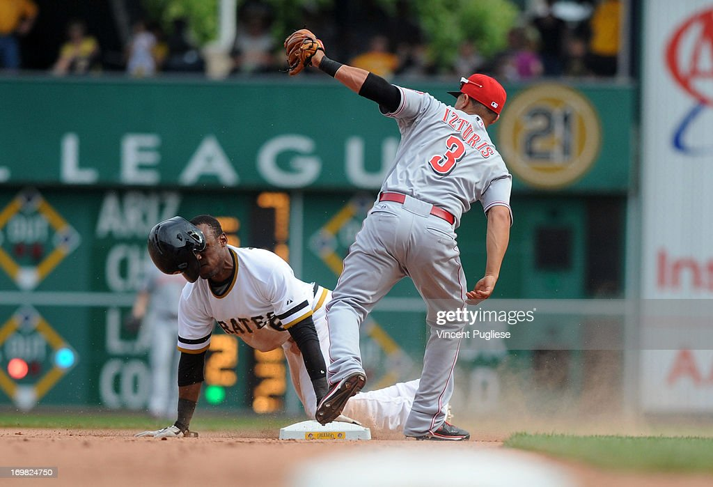 <a gi-track='captionPersonalityLinkClicked' href=/galleries/search?phrase=Cesar+Izturis&family=editorial&specificpeople=203148 ng-click='$event.stopPropagation()'>Cesar Izturis</a> #3 of the Cincinnati Reds tags out <a gi-track='captionPersonalityLinkClicked' href=/galleries/search?phrase=Starling+Marte&family=editorial&specificpeople=7934200 ng-click='$event.stopPropagation()'>Starling Marte</a> #6 of the Pittsburgh Pirates trying to steal second base at PNC Park on June 2, 2013 in Pittsburgh, Pennsylvania.