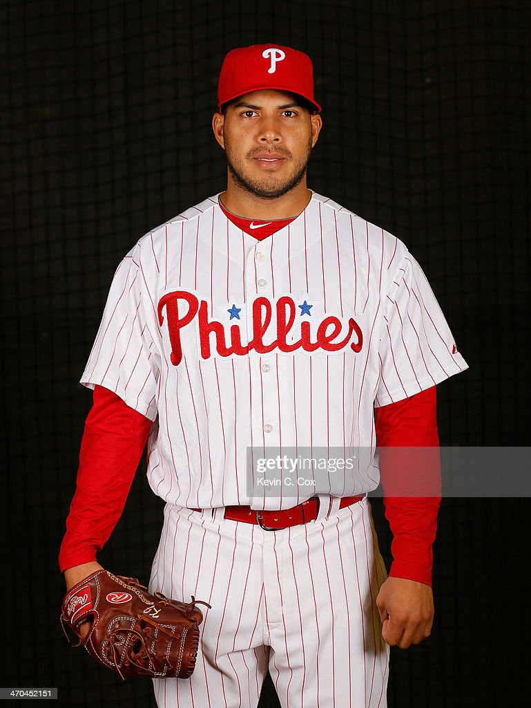 Cesar Jimenez #56 of the Philadelphia Phillies poses for a portrait on February 19, 2014 at Bright House Field in Clearwater, Florida.