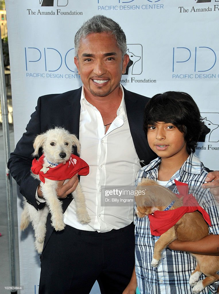 Cesar Milian and guest arrive Patterns For Paws Event at Pacific Design Center on July 15 2010 in West Hollywood California