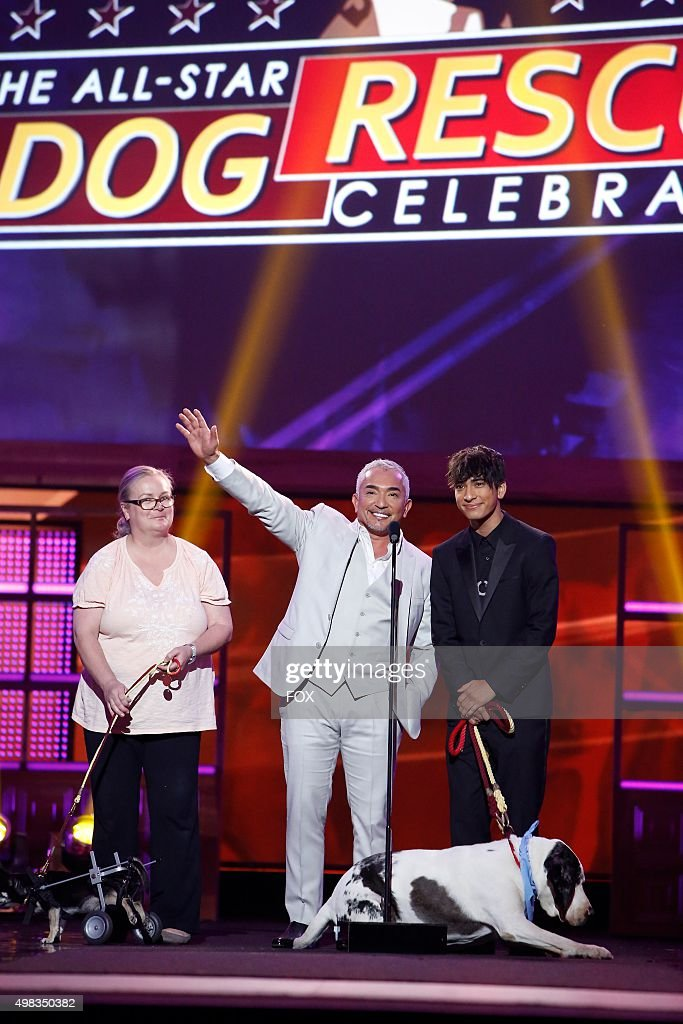 Cesar Millan and Calvin Millan onstage at the second annual THE ALLSTAR DOG RESCUE CELEBRATION a oneofakind event celebrating Americas rescue dogs...