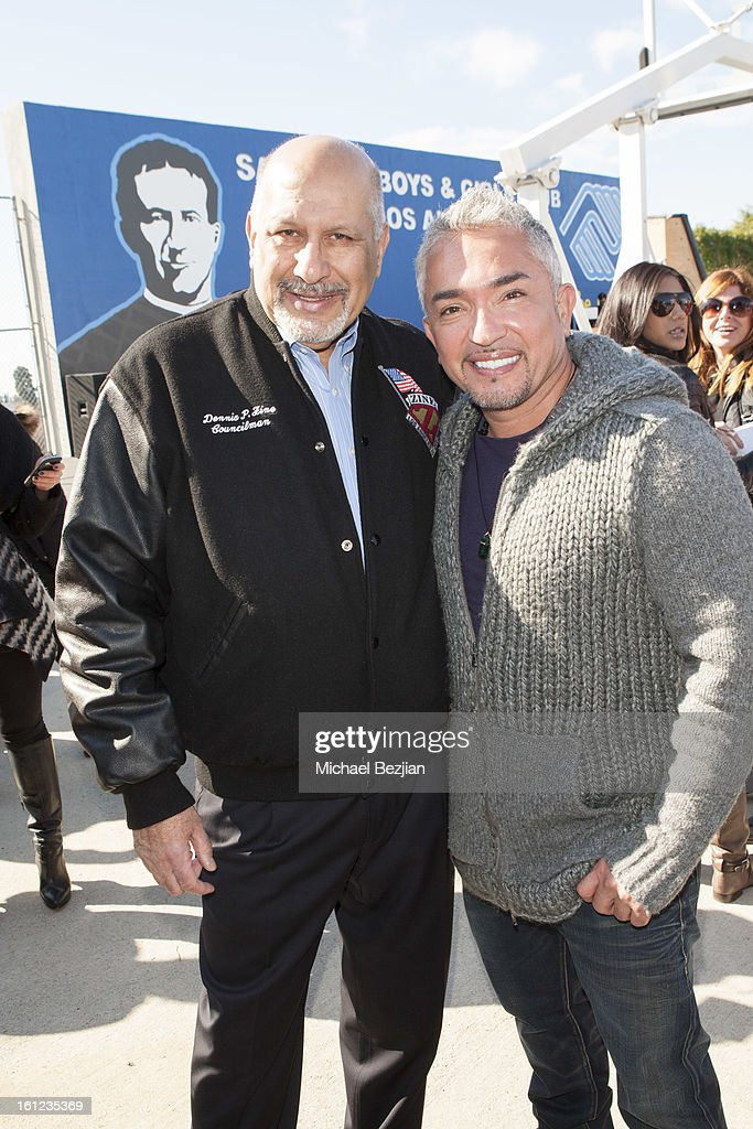 Cesar Millan and Councilman Dennis Zine attend Cesar Millan and Carrie Ann Inaba team up for National Spay and Neuter Month at Salesian Boys and Girls Club of Los Angeles on February 9, 2013 in Los Angeles, California.