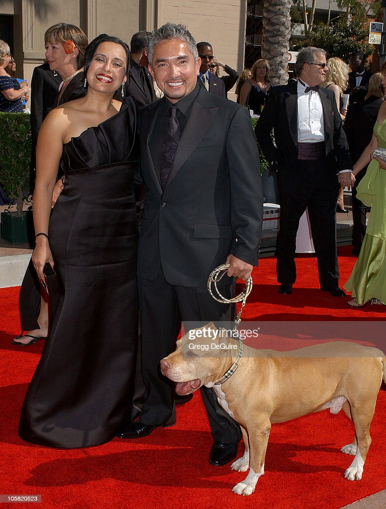 Cesar Millan and dog Daddy during 58th Annual Creative Arts Emmy Awards Arrivals at Shrine Auditorium in Los Angeles California United States