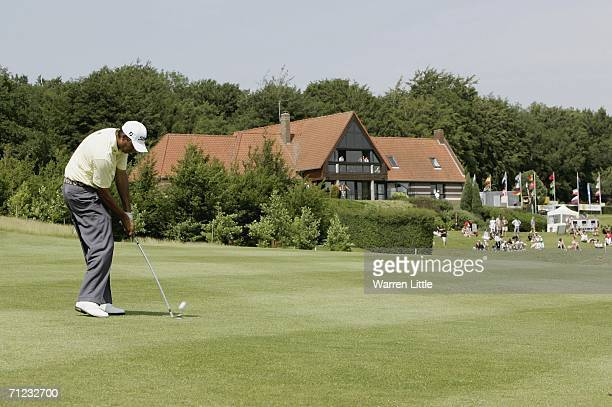 Cesar Monasterio of Argentina plays his last approach shot into the 18th green enroute to winning the the AA St Omer Open with a score of 10 under...