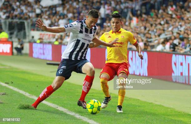 Cesar Montes of Monterrey and Raul Ruidiaz of Morelia fight for the ball during the 17th round match match between Monterrey and Morelia as part of...