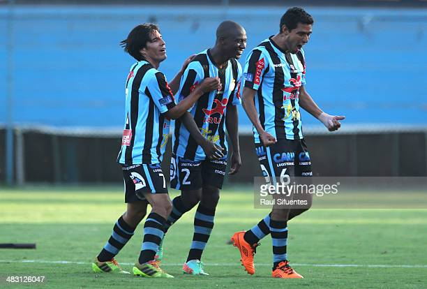Cesar Ortiz of Real Garcilaso celebrates a scored goal against Sporting Cristal during a match between Sporting Cristal and Real Garcilaso as part of...