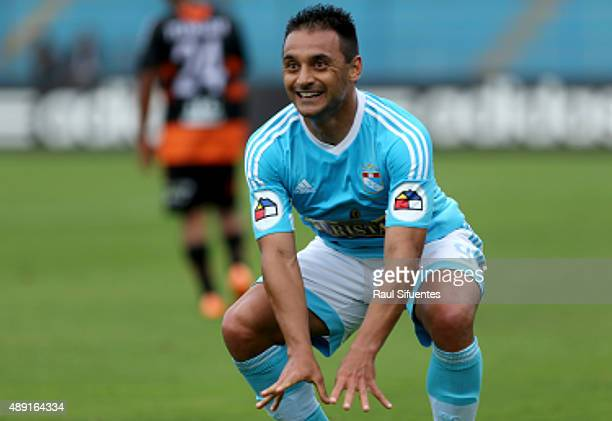 Cesar Pereyra of Sporting Cristal celebrates after scoring the opening goal during a match between Sporting Cristal and Ayacucho FC as part of 5th...