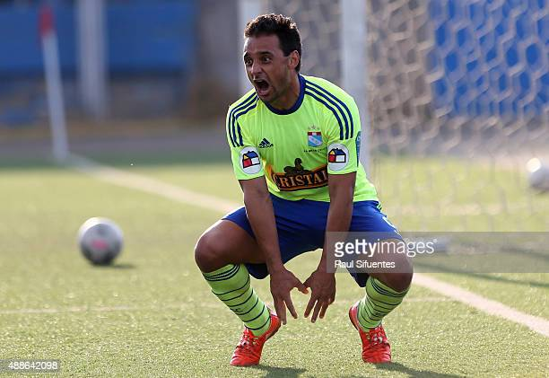 Cesar Pereyra of Sporting Cristal celebrates after scoring the third goal of his team against UTC during a match between UTC and Sporting Cristal as...