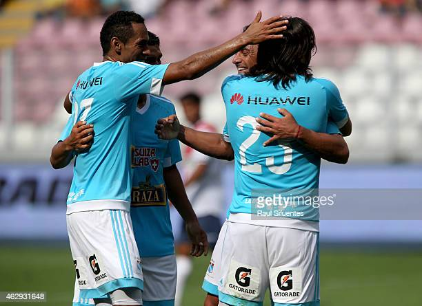 Cesar Pereyra of Sporting Cristal celebrates the third goal of his team against Deportivo Municipal during a match between Deportivo Municipal and...