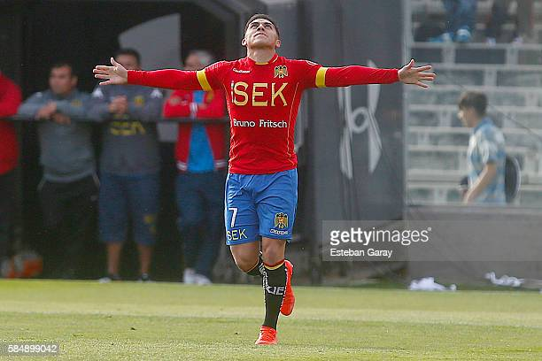 Cesar Pinares of Union Espanola celebrates after scoring the first goal of his team during a match between Colo Colo and Union Española as a part of...