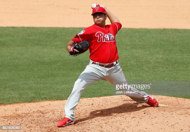 Cesar Ramos of the Philadelphia Phillies pitches in relief during the game between the Philadelphia Phillies and the New York Yankees at George M...