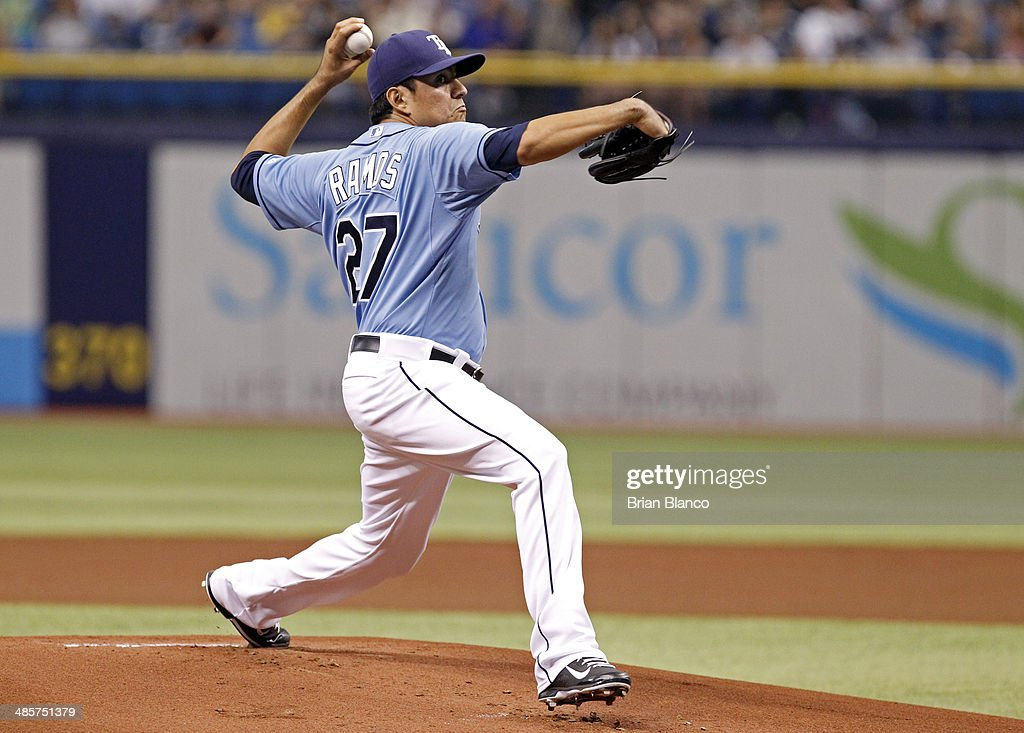 Cesar Ramos #27 of the Tampa Bay Rays pitches during the first inning of a game against the New York Yankees on April 20, 2014 at Tropicana Field in St. Petersburg, Florida.