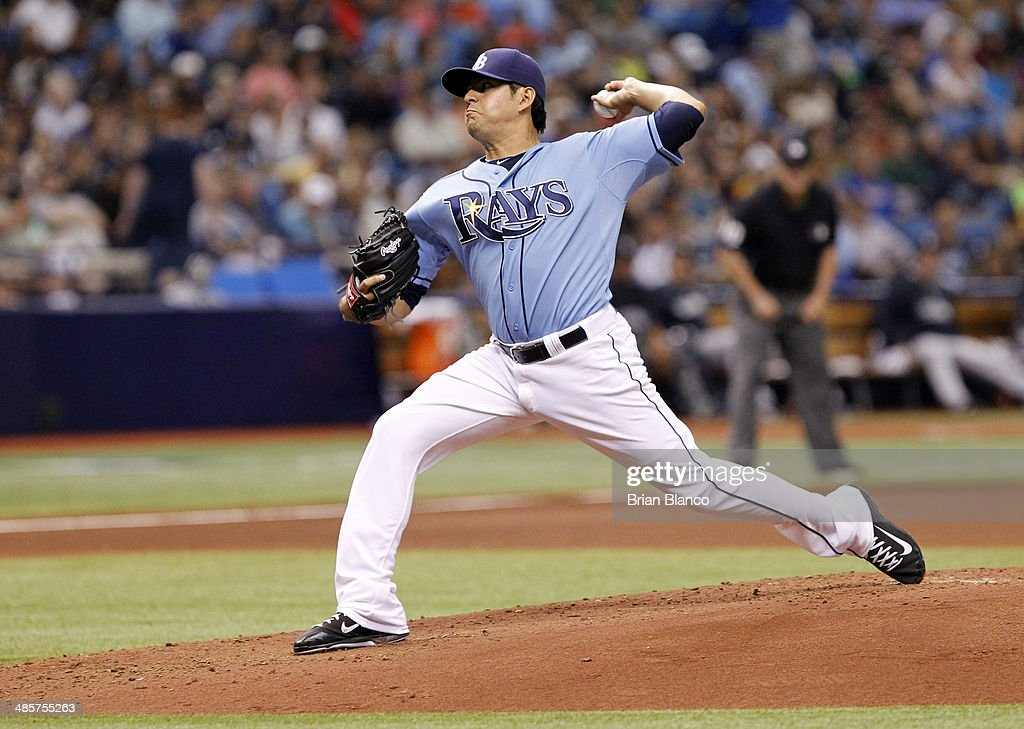 Cesar Ramos #27 of the Tampa Bay Rays pitches during the fourth inning of a game against the New York Yankees on April 20, 2014 at Tropicana Field in St. Petersburg, Florida.