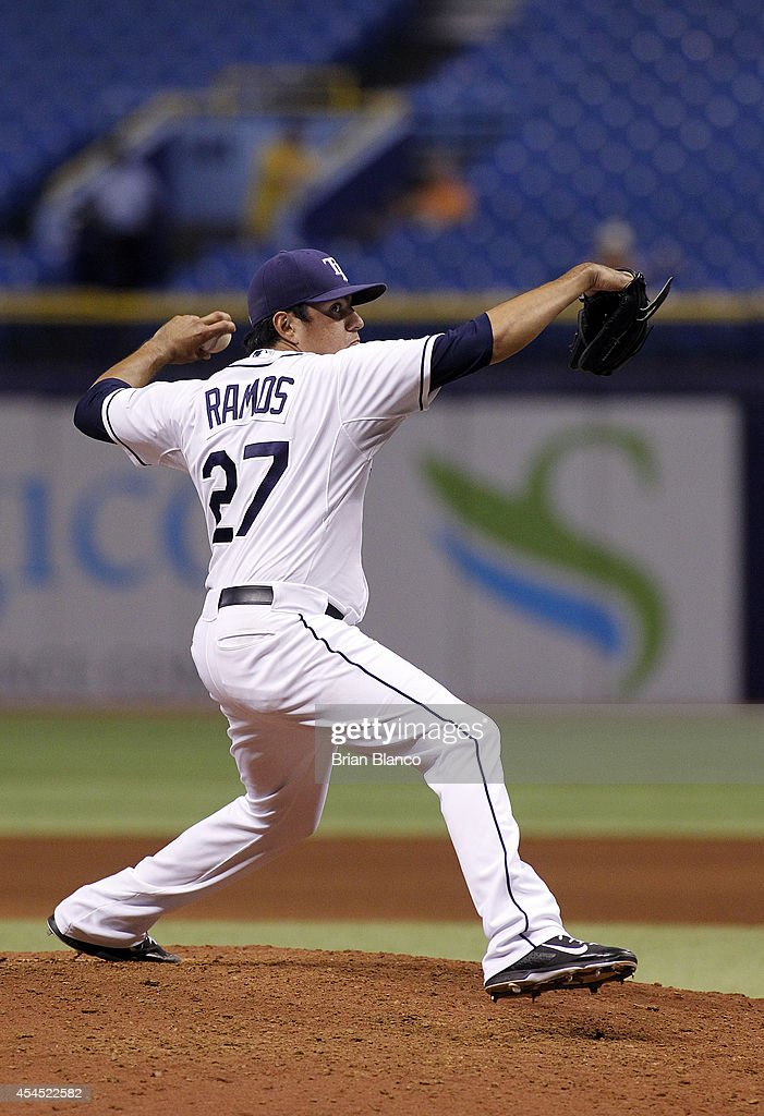 Cesar Ramos #27 of the Tampa Bay Rays pitches during the ninth inning of a game against the Toronto Blue Jays on September 2, 2014 at Tropicana Field in St. Petersburg, Florida.