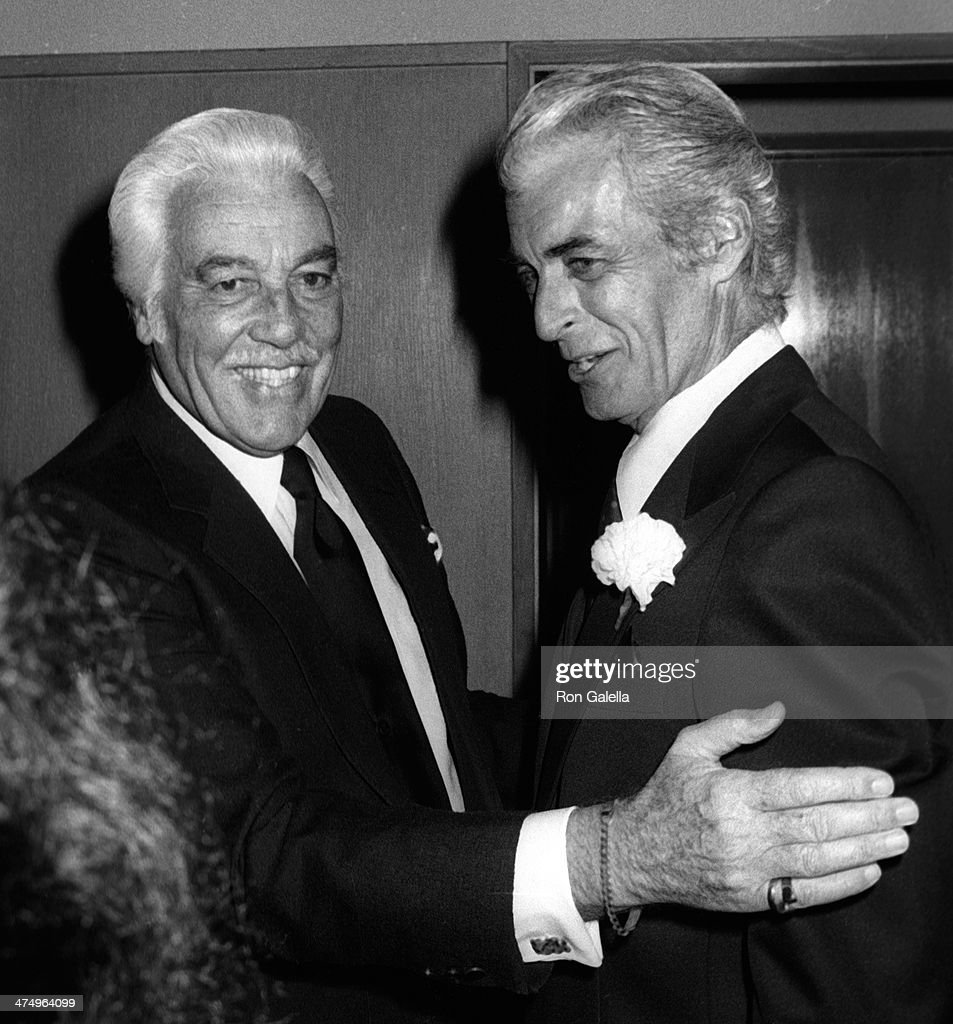 Cesar Romero and Rory Calhoun attend Jimmy Durante Funeral Service on January 31 1980 at the Church of the Good Shepherd in Beverly Hills California