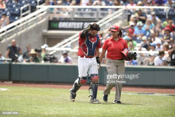 Cesar Salazar of the University of Arizona leaves the game with concussion symptons against Coastal Carolina University during Game 3 of the Division...