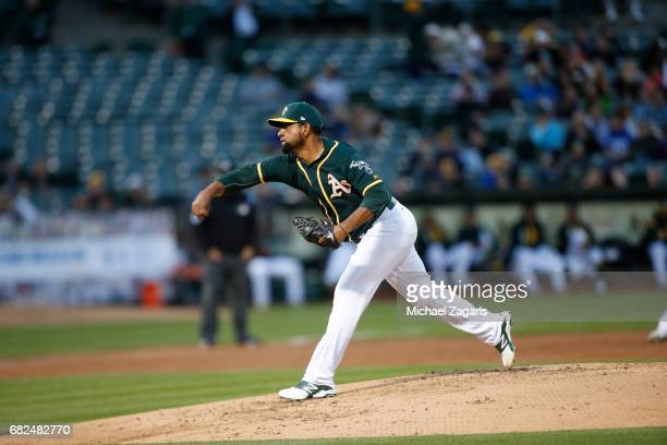 Cesar Valdez of the Oakland Athletics pitches during the game against the Seattle Mariners at the Oakland Alameda Coliseum on April 20 2017 in...