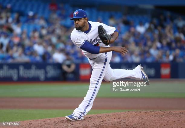 Cesar Valdez of the Toronto Blue Jays delivers a pitch in the fourth inning during MLB game action against the Oakland Athletics at Rogers Centre on...