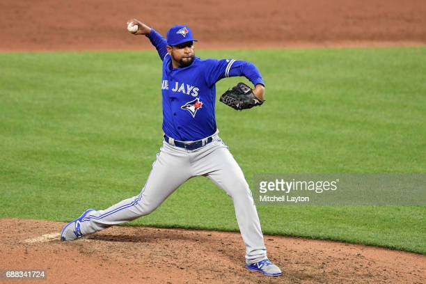 Cesar Valdez of the Toronto Blue Jays pitches pitches during a baseball game against the Baltimore Orioles at Oriole Park at Camden Yards on May 20...
