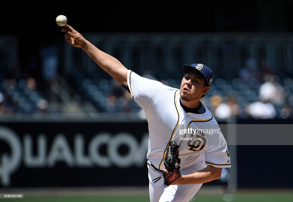 Cesar Vargas #49 of the San Diego Padres pitches during the first inning of a baseball game against the Colorado Rockies at PETCO Park on May 4, 2016 in San Diego, California.