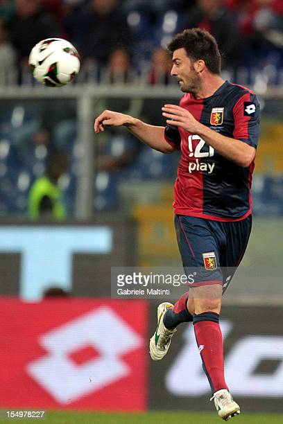 Cesare Bovo of Genoa CFC in action during the Serie A match between Genoa CFC and AS Roma at Stadio Luigi Ferraris on October 21 2012 in Genoa Italy