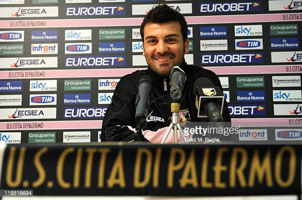 Cesare Bovo of Palermo answers questions during a press conference before a Palermo training session at Sport Well Center on July 18 2011 in Malles...