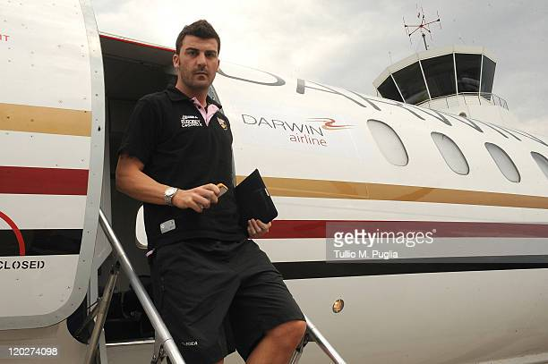 Cesare Bovo of Palermo arrives at Berna airport ahead the Europa League third qualifying round between FC Thun and US Citta di Palermo on August 3...