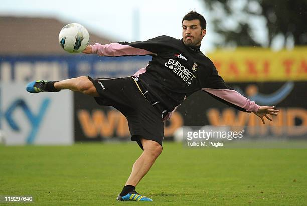 Cesare Bovo of Palermo in action during a Palermo training session at Sport Well Center on July 17 2011 in Malles Venosta near Bolzano Italy