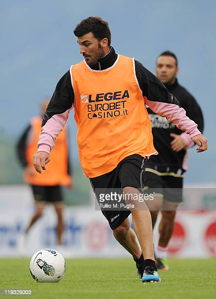 Cesare Bovo of Palermo in action during a Palermo training session at Sport Well Center on July 18 2011 in Malles Venosta near Bolzano Italy
