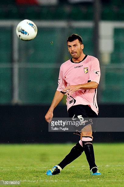 Cesare Bovo of Palermo in action during the Europa League third qualifying round between US Citta di Palermo and FC Thun at Stadio Renzo Barbera on...