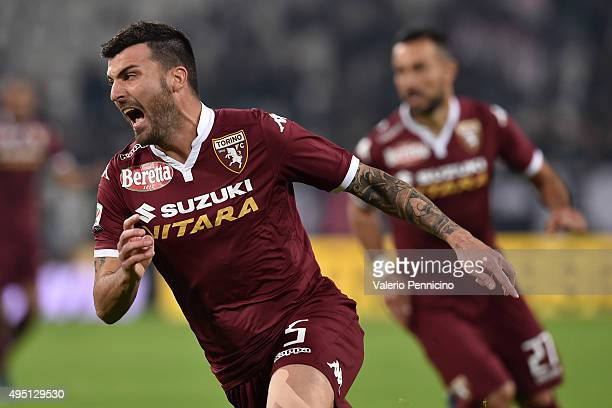 Cesare Bovo of Torino FC celebrates a goal during the Serie A match between Juventus FC and Torino FC at Juventus Arena on October 31 2015 in Turin...