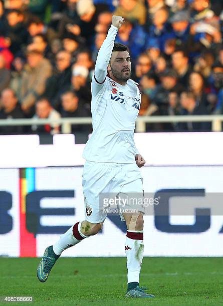 Cesare Bovo of Torino FC celebrates after scoring the opening goal during the Serie A match between Atalanta BC and Torino FC at Stadio Atleti...