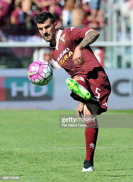 Cesare Bovo of Torino FC in action during the Serie A match between Torino FC and UC Sampdoria at Stadio Olimpico di Torino on September 20 2015 in...