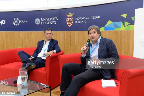 Cesare Furlanello and Piero Zanchi attends the second day of the Hackathon Event at the University of Letters on October 15 2017 in Trento Italy