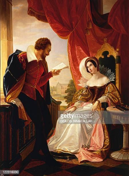 Cesare Mussini Tasso reads his verses to the Duchess Eleonora d'Este oil on canvas 120x87 cm