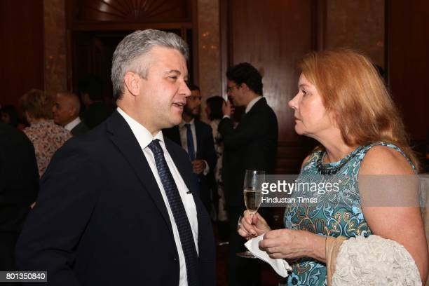Cesare Onestini and Seija Kinni during the Luxembourg National Day celebration at Taj Mahal Hotel on June 23 2017 in New Delhi India The Luxembourg...