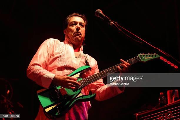 Cesareo guitarist of pop group Elio E Le Storie Tese during a concert at Bagnoli Arenile