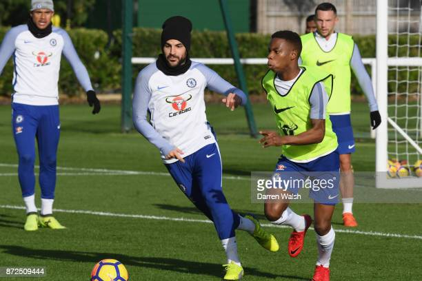Cesc Fabregas and Charly Musonda of Chelsea during a training session at Chelsea Training Ground on November 10 2017 in Cobham England