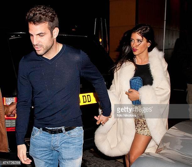 Cesc Fabregas and Daniella Semaan are seen leaving Zuma restaurant Knightsbridge on February 24 2014 in London England