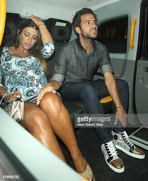 Cesc Fabregas and Daniella Semaan leaving C London restaurant on July 8 2015 in London England