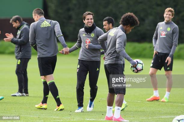 Cesc Fabregas and John Terry of Chelsea during a training session at Chelsea Training Ground on April 14 2017 in Cobham England