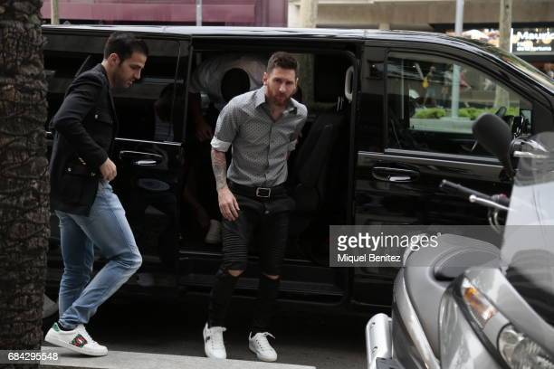 Cesc Fabregas and Lionel Messi are seen walking in Barcelona on May 17 2017 in Barcelona Spain